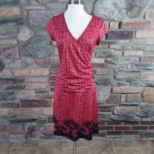 Athleta faux wrap style red dress medium